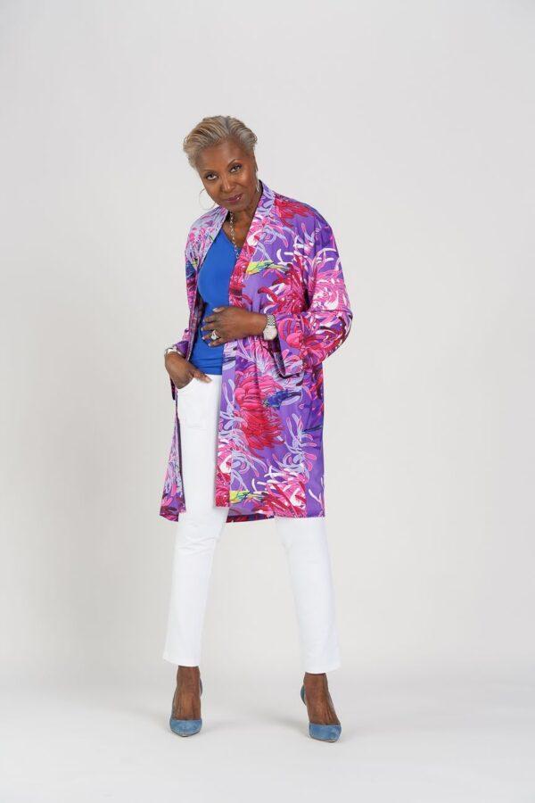 Attitudes by Renee Printed Como Jersey Lounge Kimono