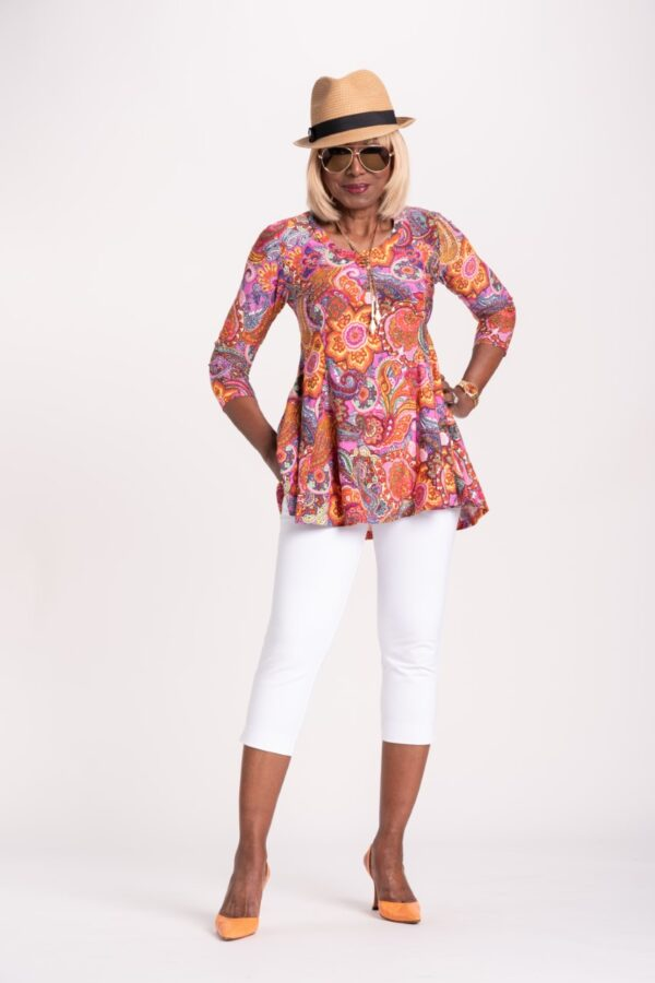 Printed Godet Tunic with Pockets