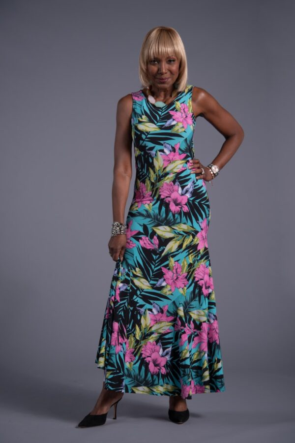 Printed godet maxi dress