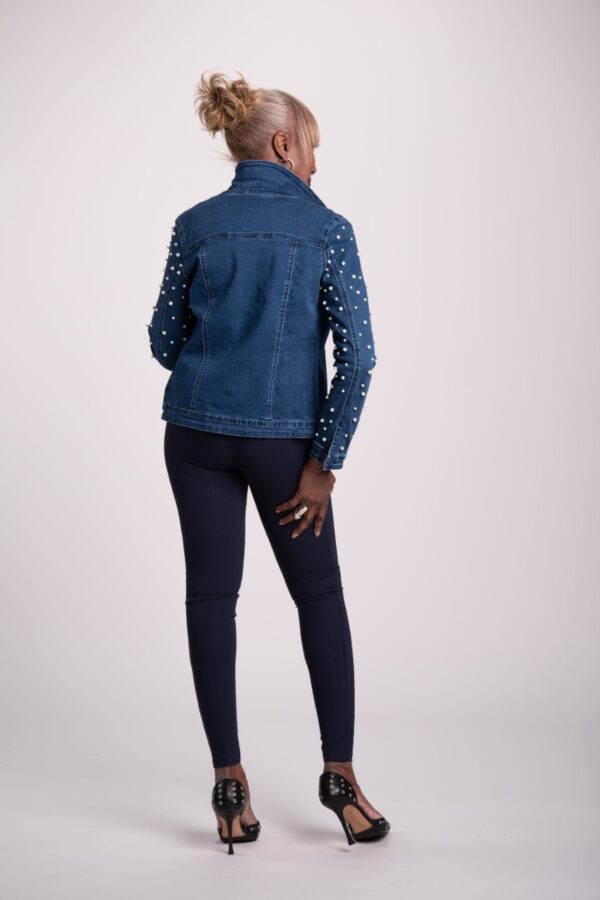 My Wonder Denim Jean Jacket with Pearl Sleeves