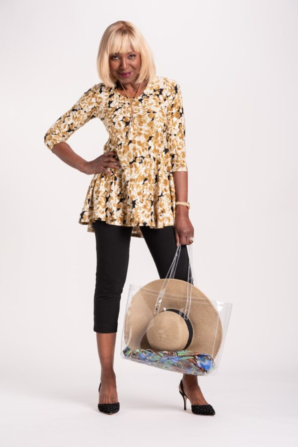 Printed Godet Tunic with Pockets - Gold Sandstone Print