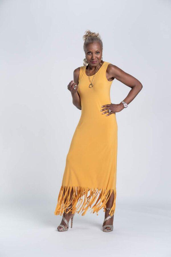 Attitudes by Renee Sleeveless Maxi Dress with Fringe