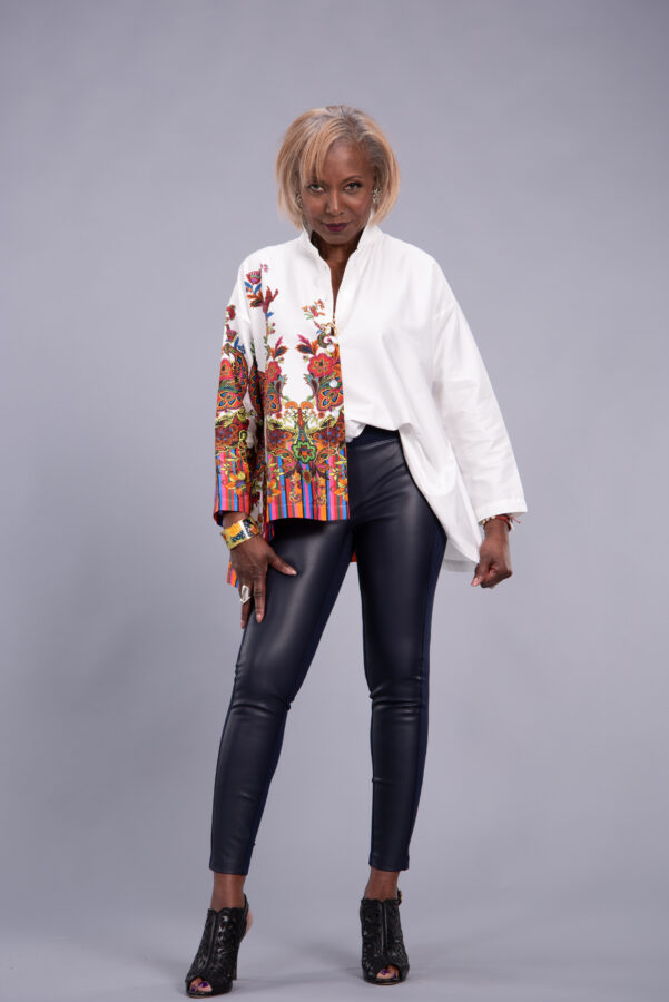 Attitudes by Renee Sateen Button Front Shirt w/ Printed Panel