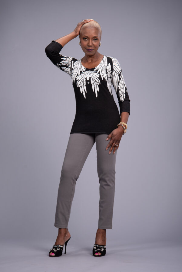 Attitudes by Renee 3/4-Sleeve Printed Sweater