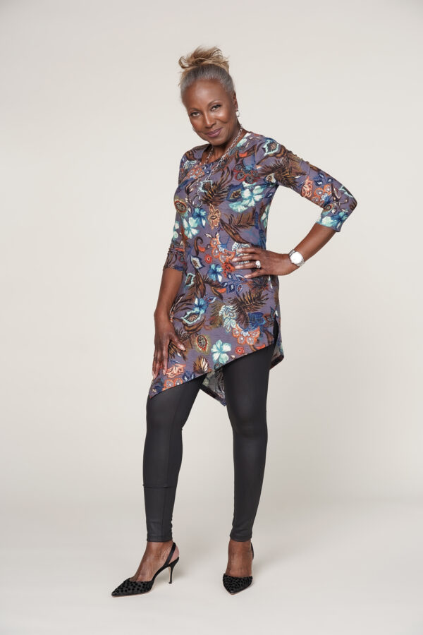 Attitudes by Renee Asymmetric Jacquard Tunic