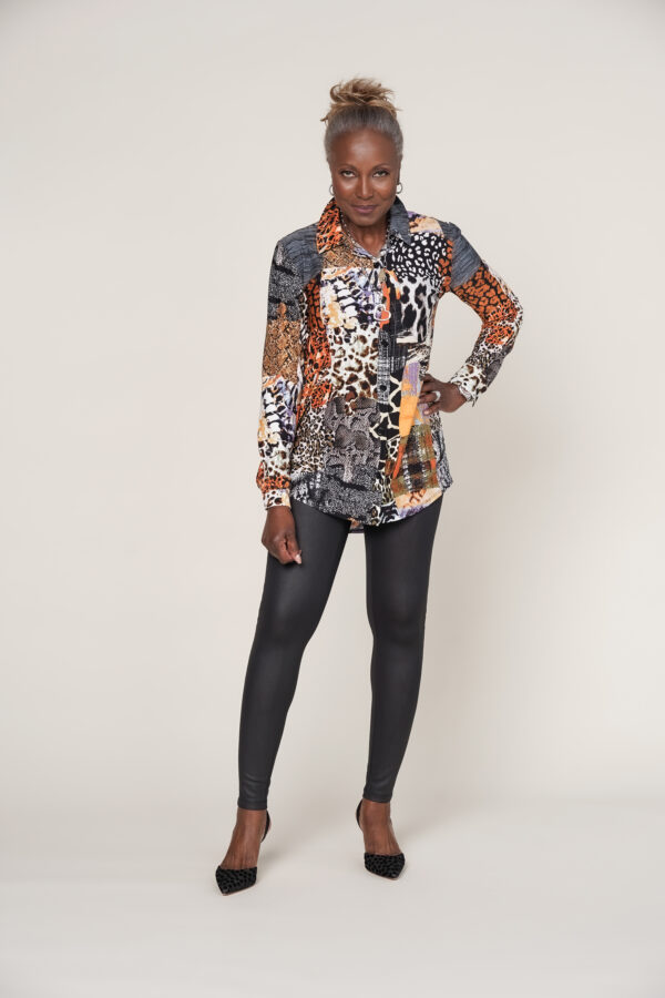 Attitudes by Renee Two-Print Shirt with Front Pocket