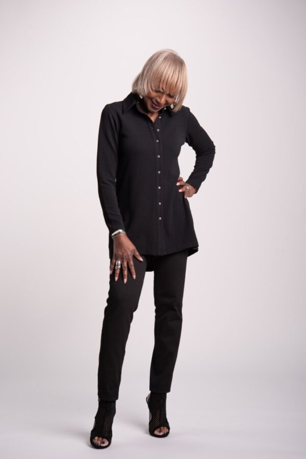 SOLD OUT! Attitudes by Renee Button Front Textured Tunic w/ Back Zipper Detail